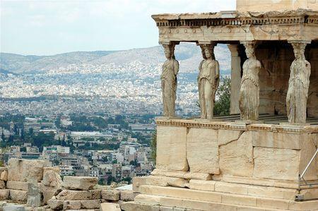 caryatids: Erechtheion - part of Acropolis in Athens Stock Photo