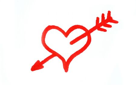 penetrated: Handwritten red heart penetrated with arrow