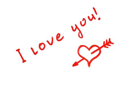 Handwritten red heart penetrated with arrow and I love you! text