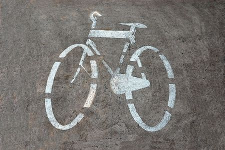 Bicycle track sign painted on the road