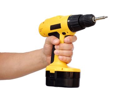 Hand with power tool