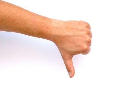 Man hand showing thumb down