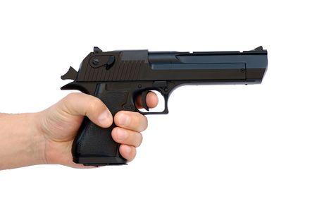pistola: Mano con arma de airsoft grandes  Foto de archivo