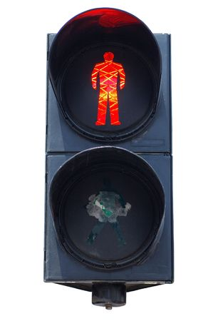 Isolated red pedestrians traffic light