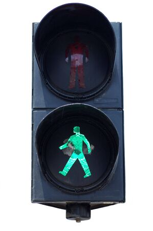 Isolated green pedestrians traffic light Banco de Imagens