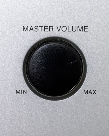 master volume: Master volume knob with min and max text Stock Photo