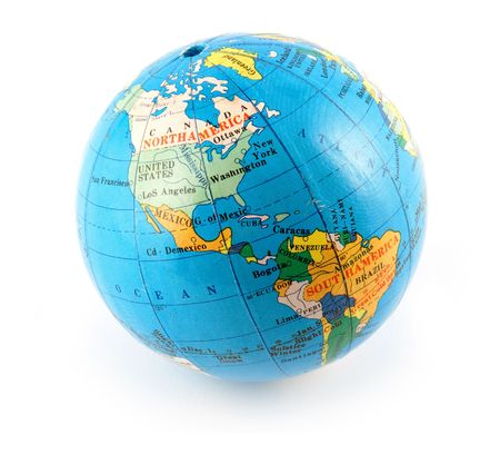 Small terrestrial globe americas side isolated on white Stock Photo - 3232358