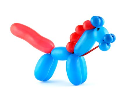 balloon animals: High resolution blue twisted balloon horse isolated on white