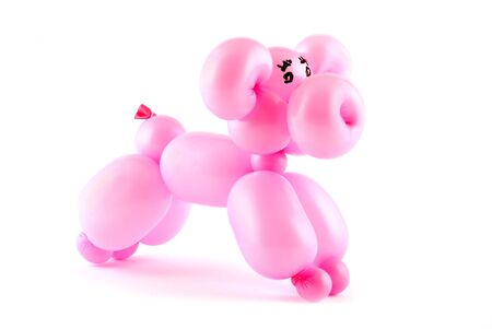 High resolution pink twisted balloon pig isolated on white Stock Photo - 3231801