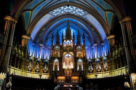 pew: Notre Damme De Montreal interrior with altar Editorial