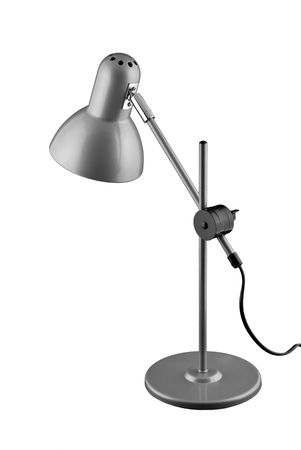 Grey table lamp isolated on white background photo