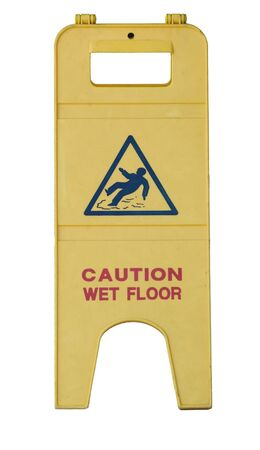 caretaker: Isolated yellow wet floor sign with text