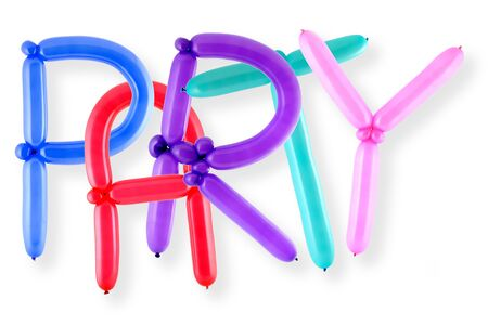 Word party written in twisted balloon letters Stock Photo - 3232294