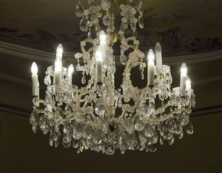Antique crystal chandelier photo
