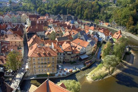 cz: Magical old town Cesky Krumlov in Bohemia - view from castle tower