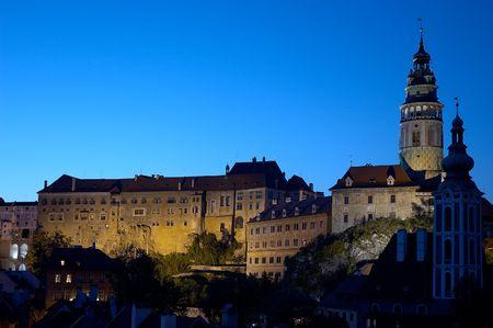cz: Night shot of magical castle in Cesky Krumlov in Bohemia