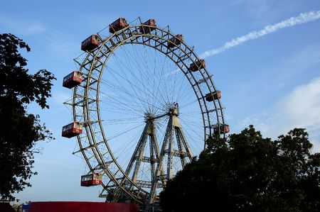 Prater - giant old ferris wheel in Wien Austria. The wheel is more that 100 years old