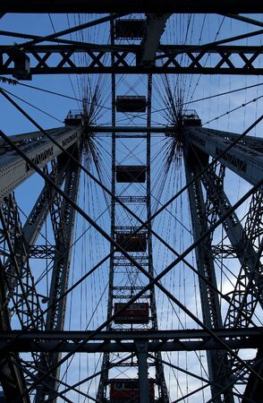 Fragment of prater - giant old ferris wheel in Wien Austria. The wheel is more that 100 years old photo