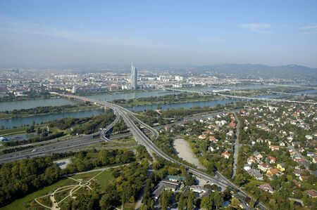 Wien city panorama taken from danube tower photo