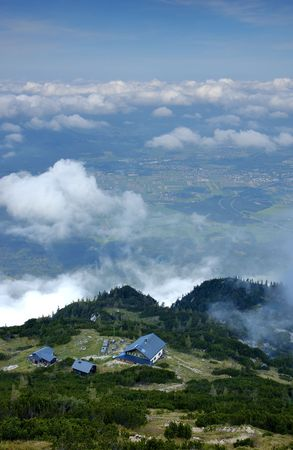 Living above clouds - view from mount Monchsberg near Salzburg in Austria