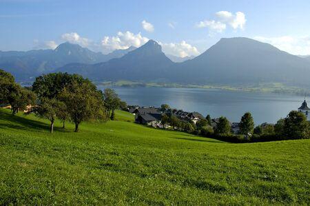 Mountain lake St Wolfgang in Salzkammergut, Austria photo