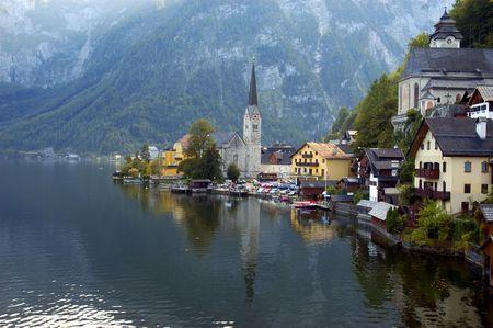 Hallstatt - small town on Hallstattersee lake - Salzkammergut, Austria Stock Photo