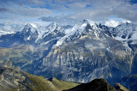 View on Top of Europe - Jungfrau mount from the top of Schilthorn. Switzerland photo