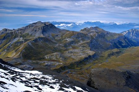 View on Alps peaks from the top of Schilthorn. Switzerland photo