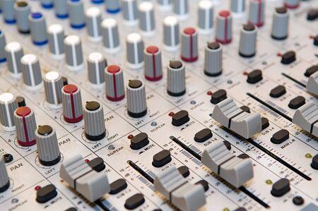 Closup on grey sound mixer station photo