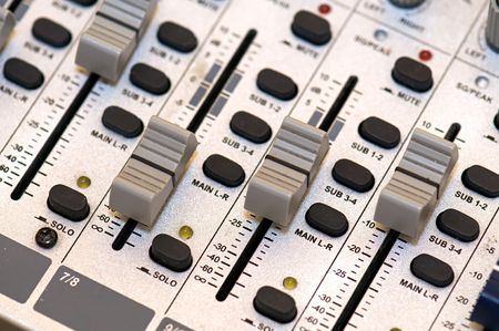 Closup on grey sound mixer station Stock Photo