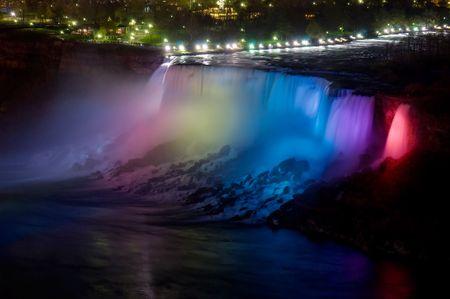 American side of Niagara falls wonder at night with colorfull illumination photo