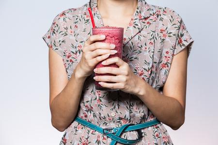 heathy: heathy woman drink the fresh blend juice