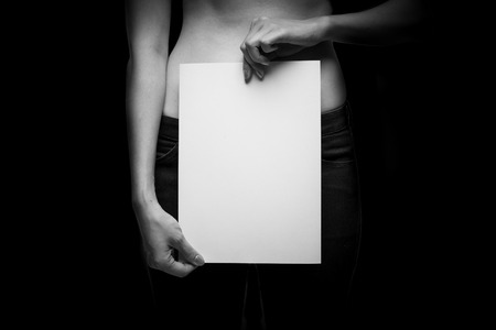 Topless Woman with blank space - concept photo of sexual assault