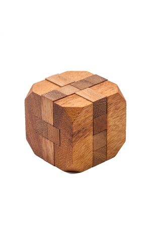 brain game: Wooden Brain game on White Background Stock Photo