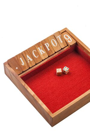 odds: Wooden dice jackpot board game Stock Photo