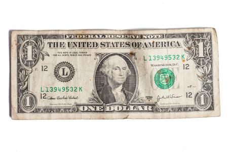 cuenta: Un dólares sucios aislados sobre fondo blanco