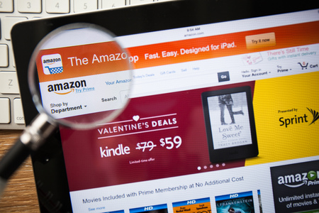 CHIANGMAI, THAILAND - FEBRUARY 15, 2015: Photo of Amazon.com homepage on a apple ipad screen. Editorial
