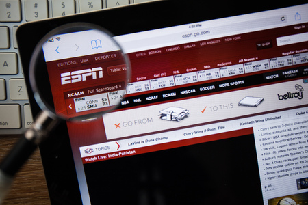 telecast: CHIANGMAI, THAILAND - FEBRUARY 15, 2015: Photo of espn.com homepage on a apple ipad screen. Editorial