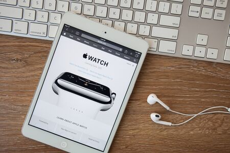 retina display: CHIANGMAI, THAILAND - February 8, 2015: Apple Computers website close up details seen on iPad with the newly launched Apple Watch wearable technology device as seen on 30 September, 2014. Editorial