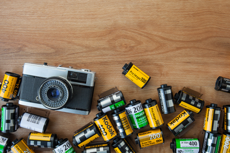 kodak: CHIANGMAI THAILAND, FEBRUARY 9: Kodak films in the photographer house in Chiangmai, Thailand on 9 February 2015.