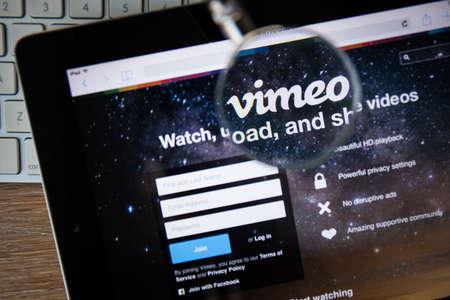 vimeo: CHIANGMAI, THAILAND - FEBRUARY 15, 2015: Photo of vimeo.com homepage on a apple ipad screen.
