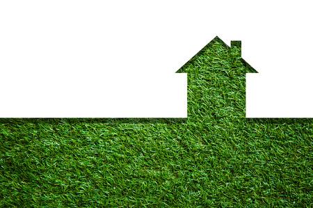 grafische vorm van het huis op groen gebied