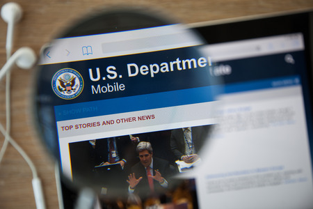 veterans: CHIANGMAI, THAILAND - February 26, 2015: Photo of the U.S. Department of Veterans Affairs homepage on a ipad  monitor screen through a magnifying glass. Editorial