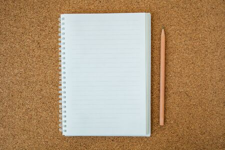 utiles escolares: Un tablero de corcho con un lápiz y un cuaderno.