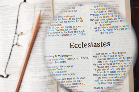 CHIANGMAI, THAILAND, March 3,2015. Reading The New International Version of the Holy Bible on the page of  ecclesiastes  at home. March 3,2015