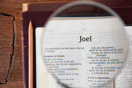 "CHIANGMAI, THAILAND, March 3,2015. 집에서 ""조엘""의 페이지에서 성경의 새로운 국제판을 읽으십시오. 3 월 3 일"
