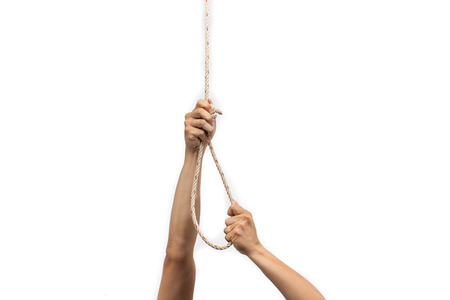 slipknot: Hands holding rope slipknot in concept suicide isolated on white background