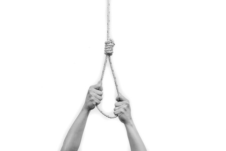 slipknot: BW tone of Hands holding rope slipknot in concept suicide isolated on white background