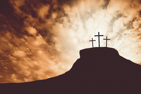 praise: cross on a hill Stock Photo