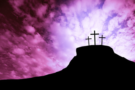 worship praise: cross on a hill Stock Photo